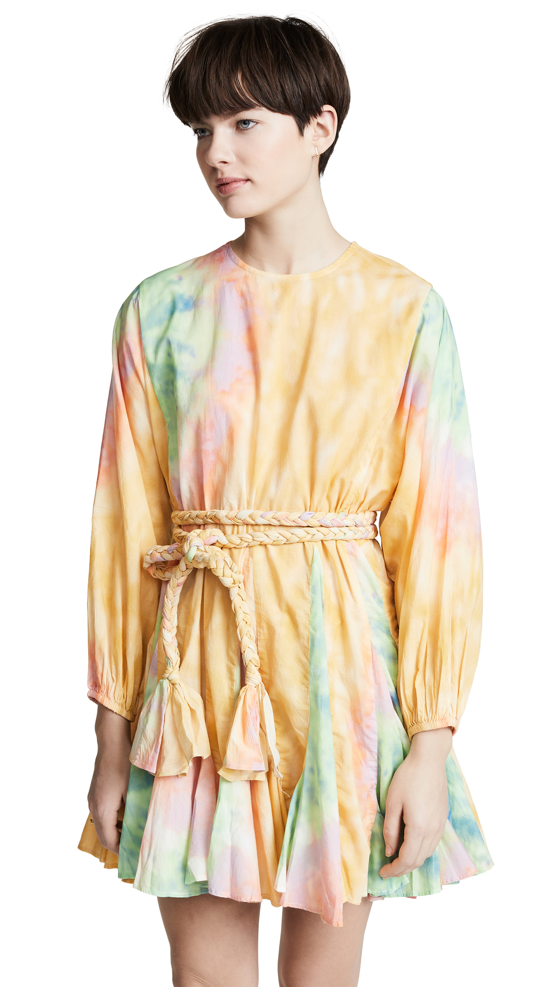 100b6d51e Rhode Resort Ella Belted Pleated Cotton Mini Dress In Tie Dye