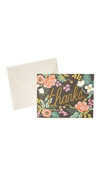 Rifle Paper Co Birch Floral Thank You Cards - Black Multi
