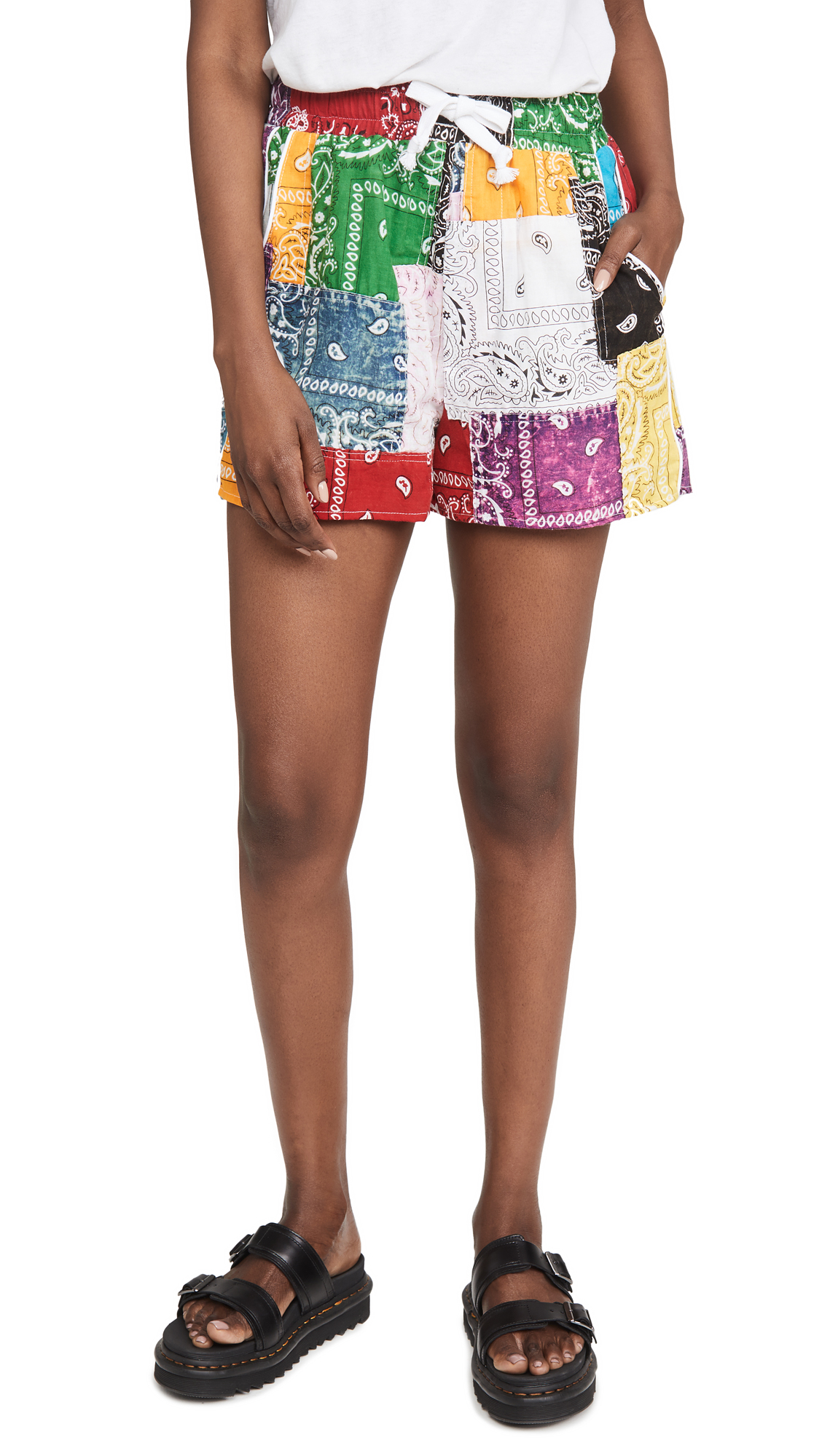 Buy Riley online - photo of Riley Patchwork Mechanic Shorts