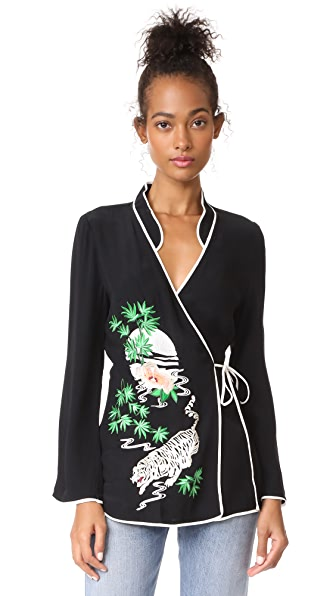 RIXO London Blossom Top - Black with Embroidery