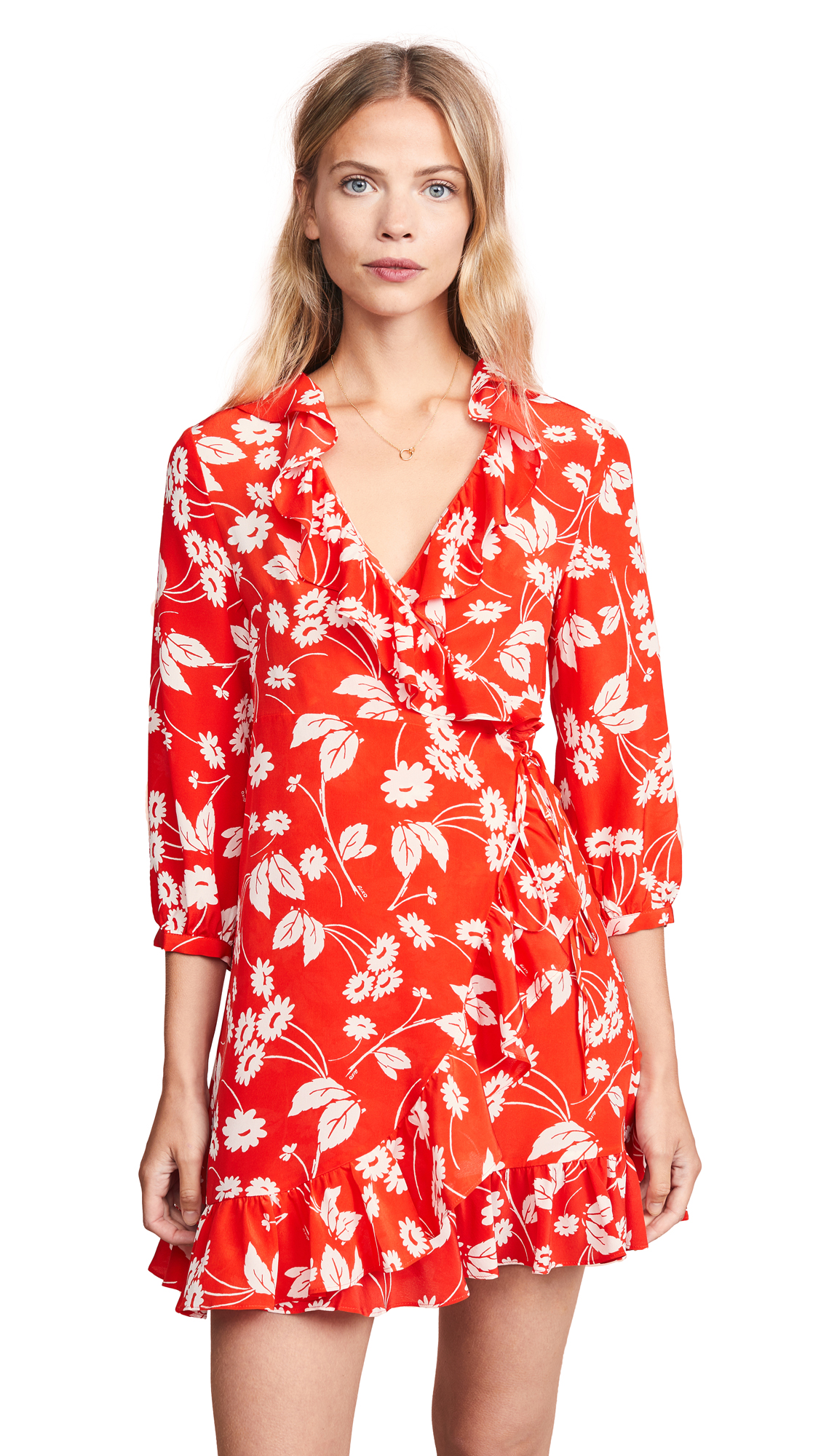 RIXO LONDON Abigail Floral-Print Silk-Crepe Wrap Dress in Abstract Daisy Red White
