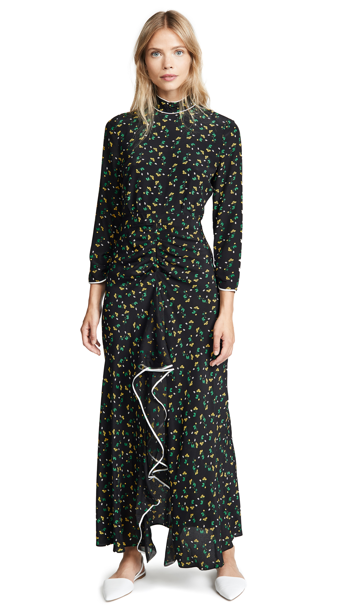 RIXO London Lucy Dress In Bunched Daisy Black Yellow
