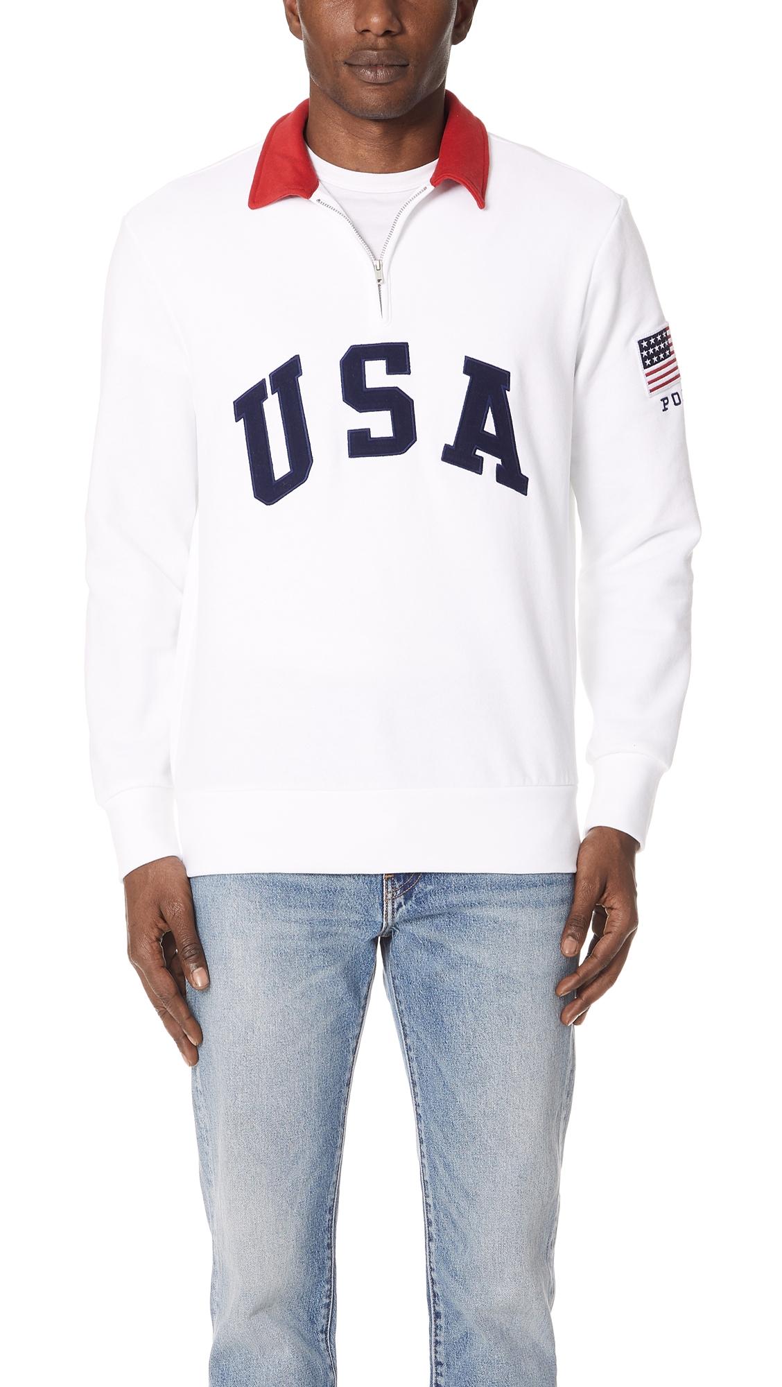 Polo Ralph Lauren AppliquÉD Fleece-Back Cotton-Blend Jersey Half-Zip  Sweatshirt In 6922104bcba