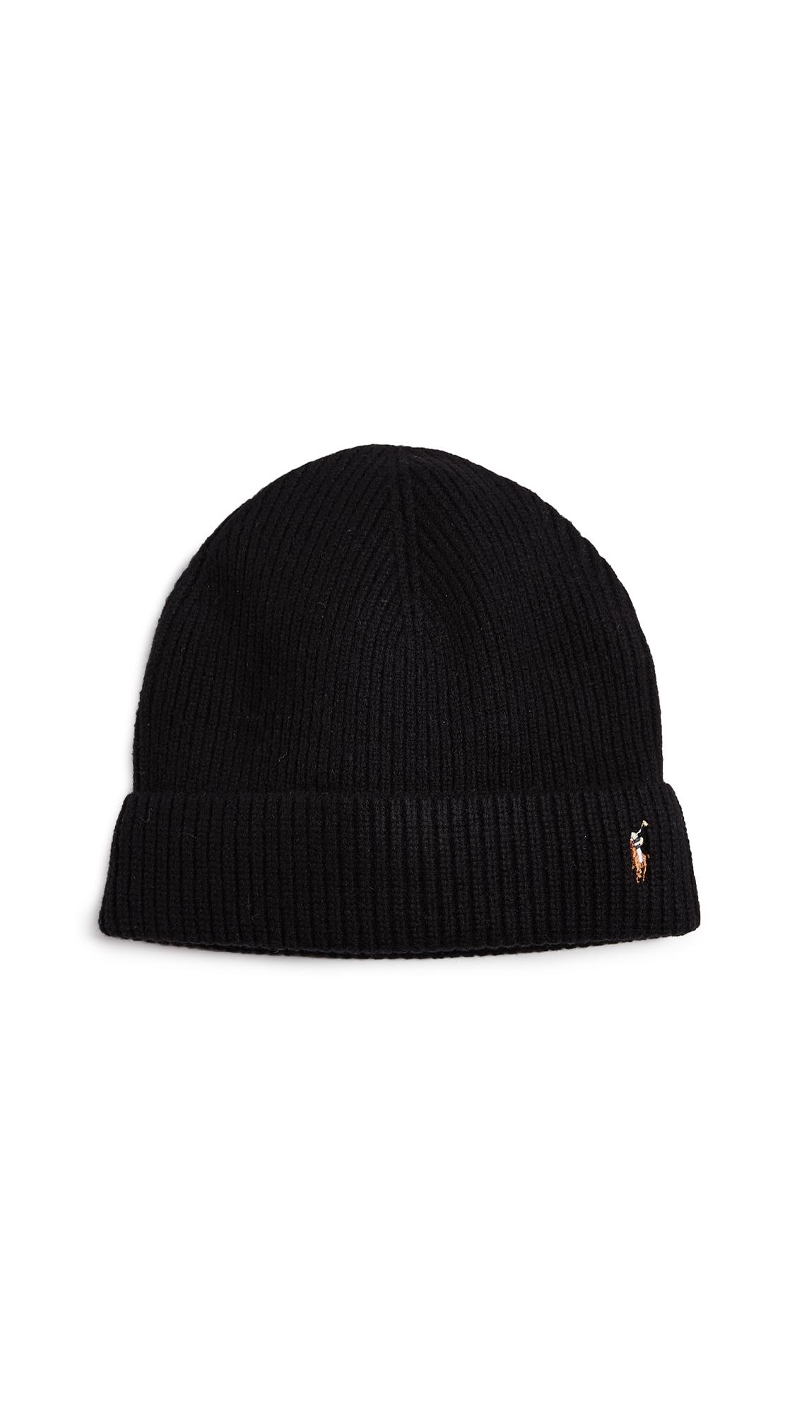 Polo Ralph Lauren Signature Merino Cuff Hat In Charcoal  37ae7dde08e