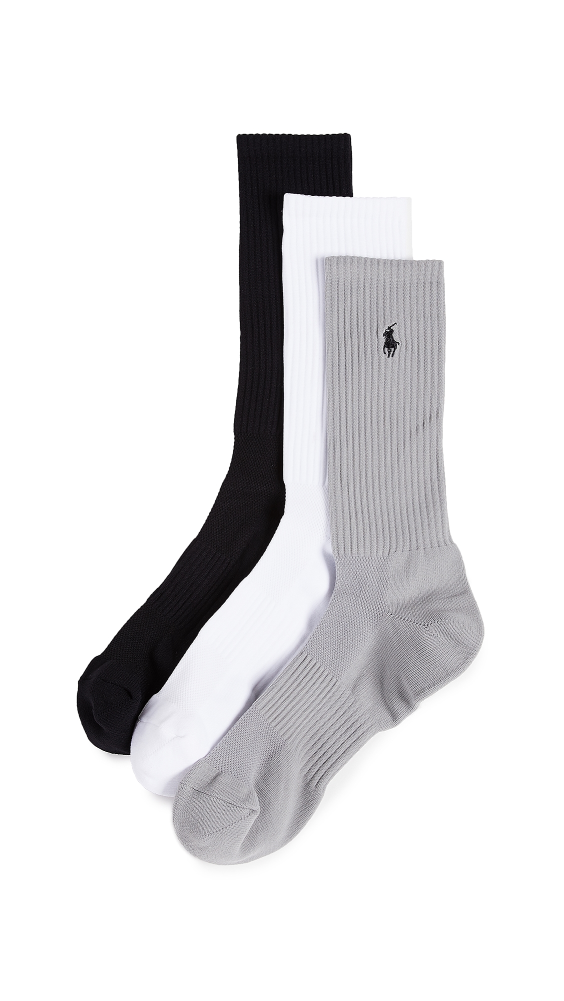 POLO RALPH LAUREN 3 PACK TECH ATHLETIC CREW SOCKS