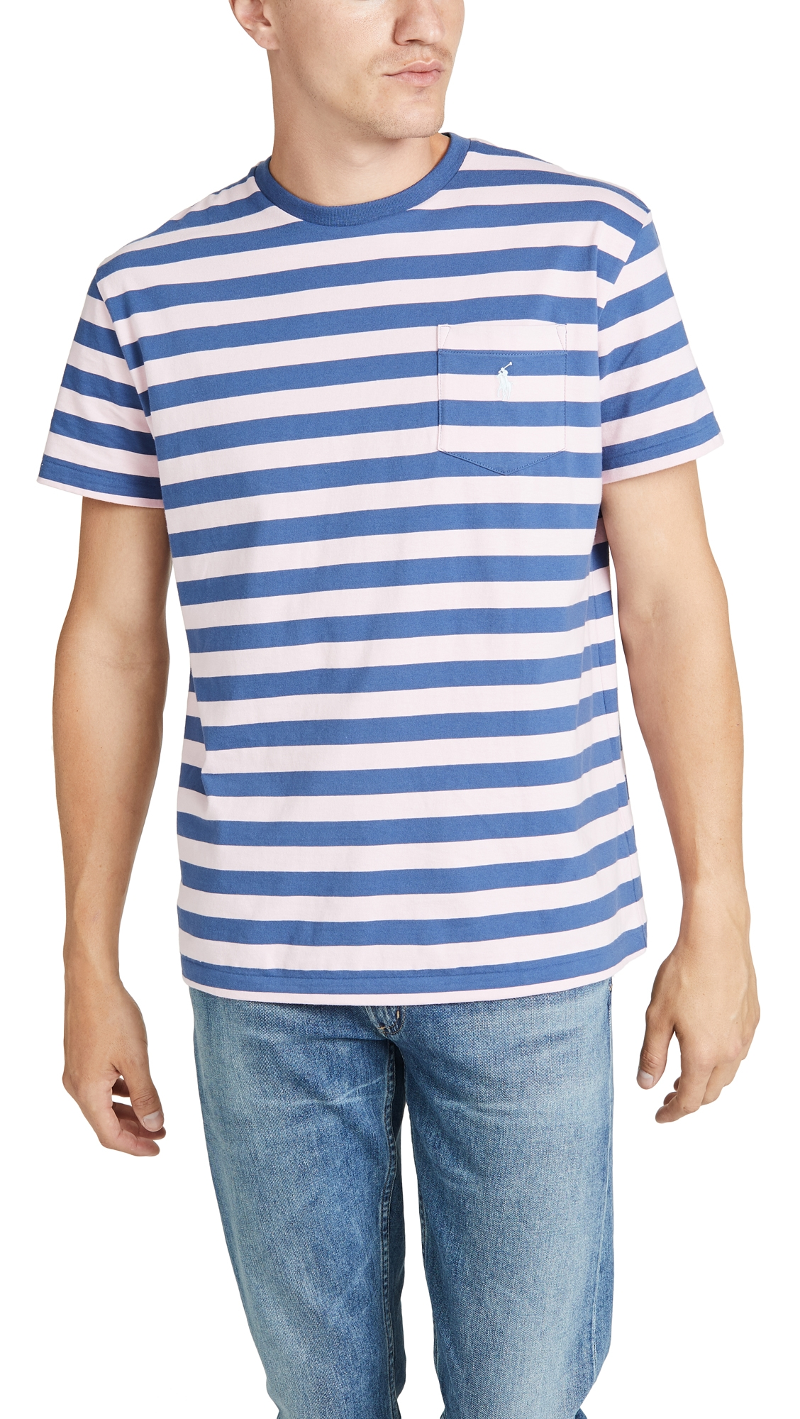 108d60d7 Polo Ralph Lauren Short Sleeve Striped Pocket Tee In Pink Multi ...