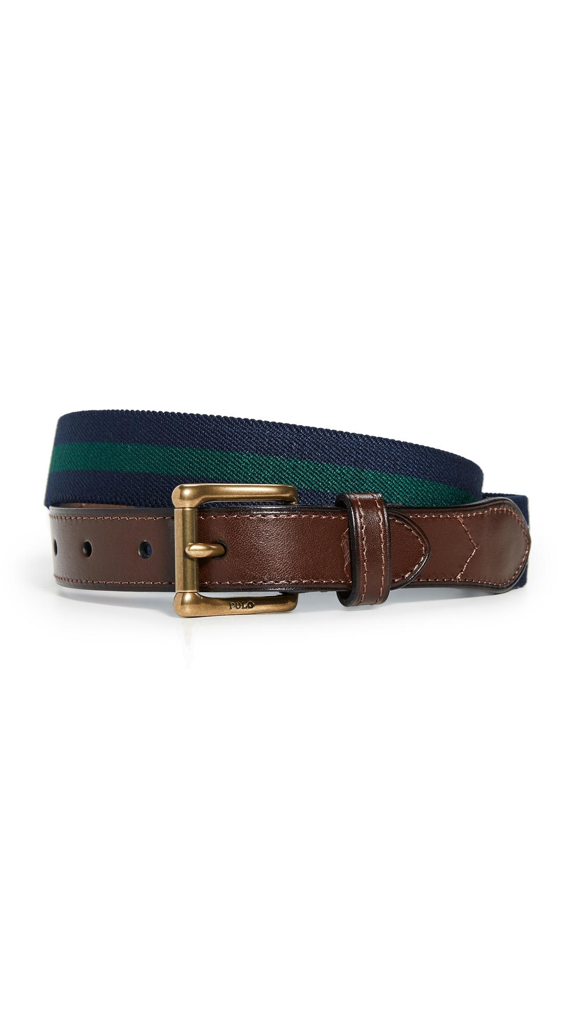 Polo Ralph Lauren Striped Casual Elastic Webbing Belt In Navy/forest Green
