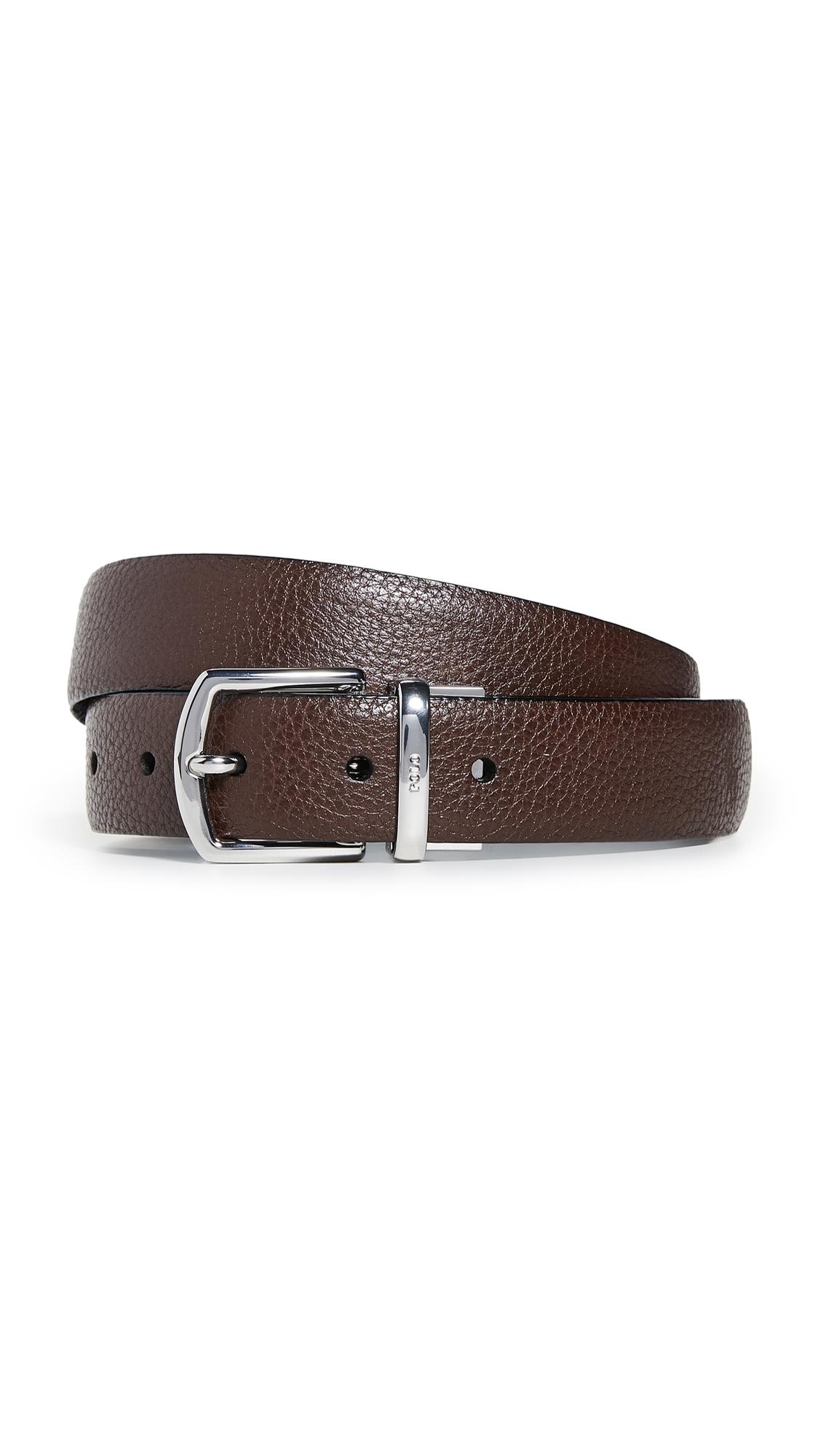 Polo Ralph Lauren 30Mm Reversible Pebbled Leather Dress Belt In Dark Brown/Black