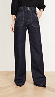 Runway Marc Jacobs Flared Jeans With Braided Waist & Pocket