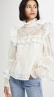 Runway Marc Jacobs 细褶透明硬纱和蕾丝 Edwardian 女式衬衫