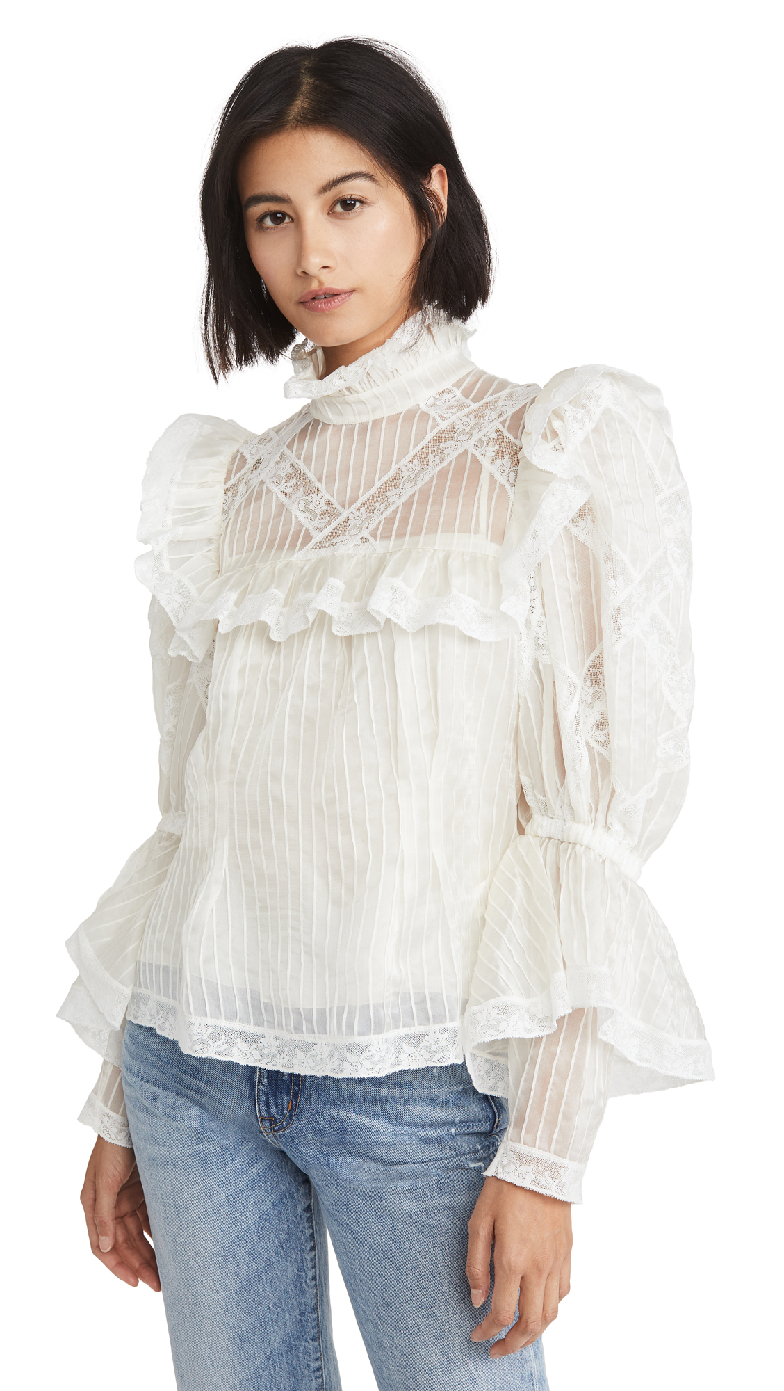 Buy Runway Marc Jacobs online - photo of Runway Marc Jacobs Pintucked Organza & Lace Edwardian Blouse