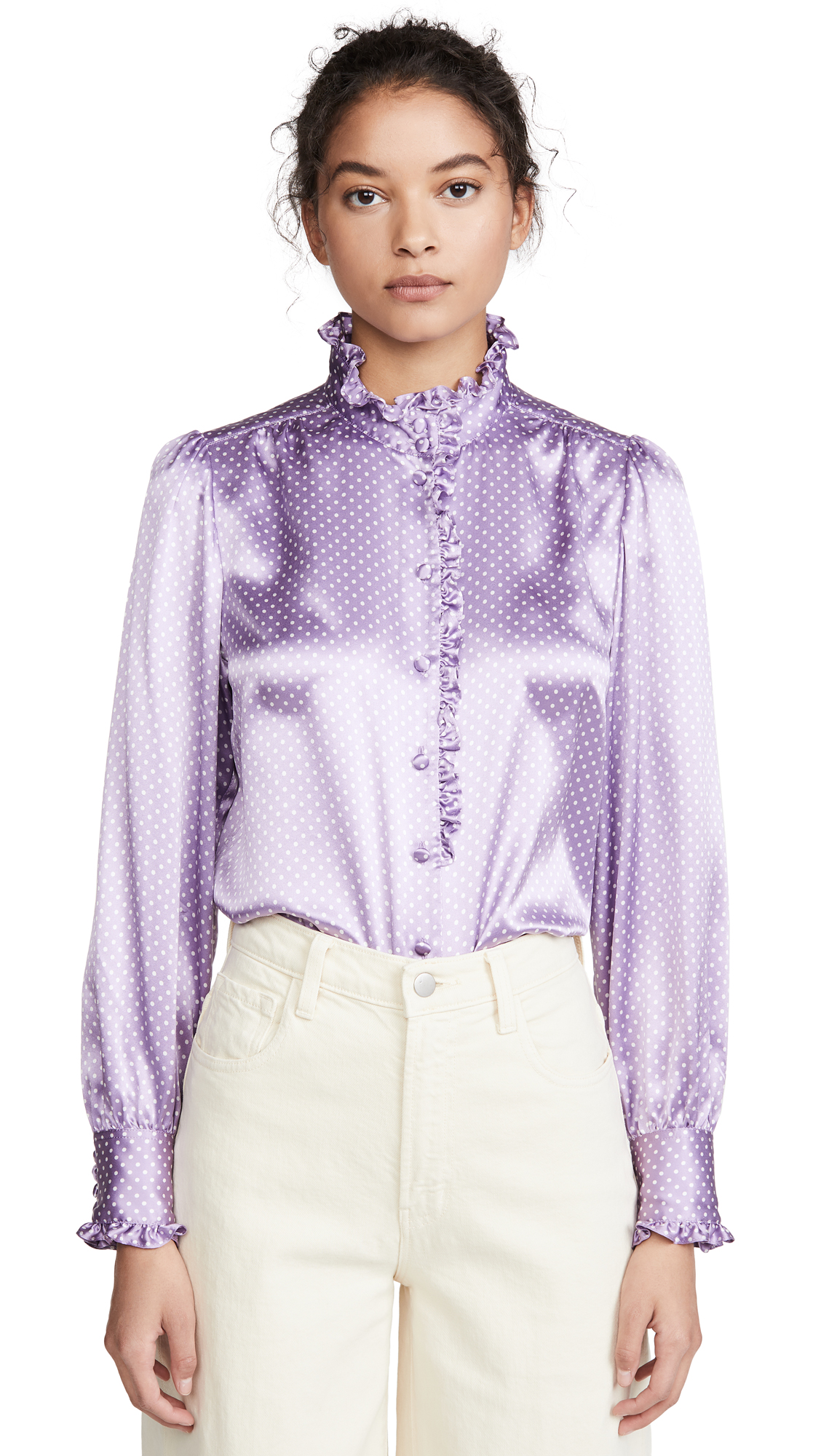 Runway Marc Jacobs Spot Blouse With Ruffle At Collar & Cuff - 30% Off Sale