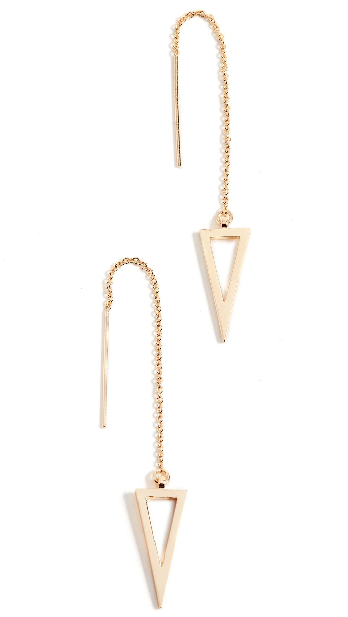 Rebecca Minkoff Long Triangle Frame Threader Earrings - Gold