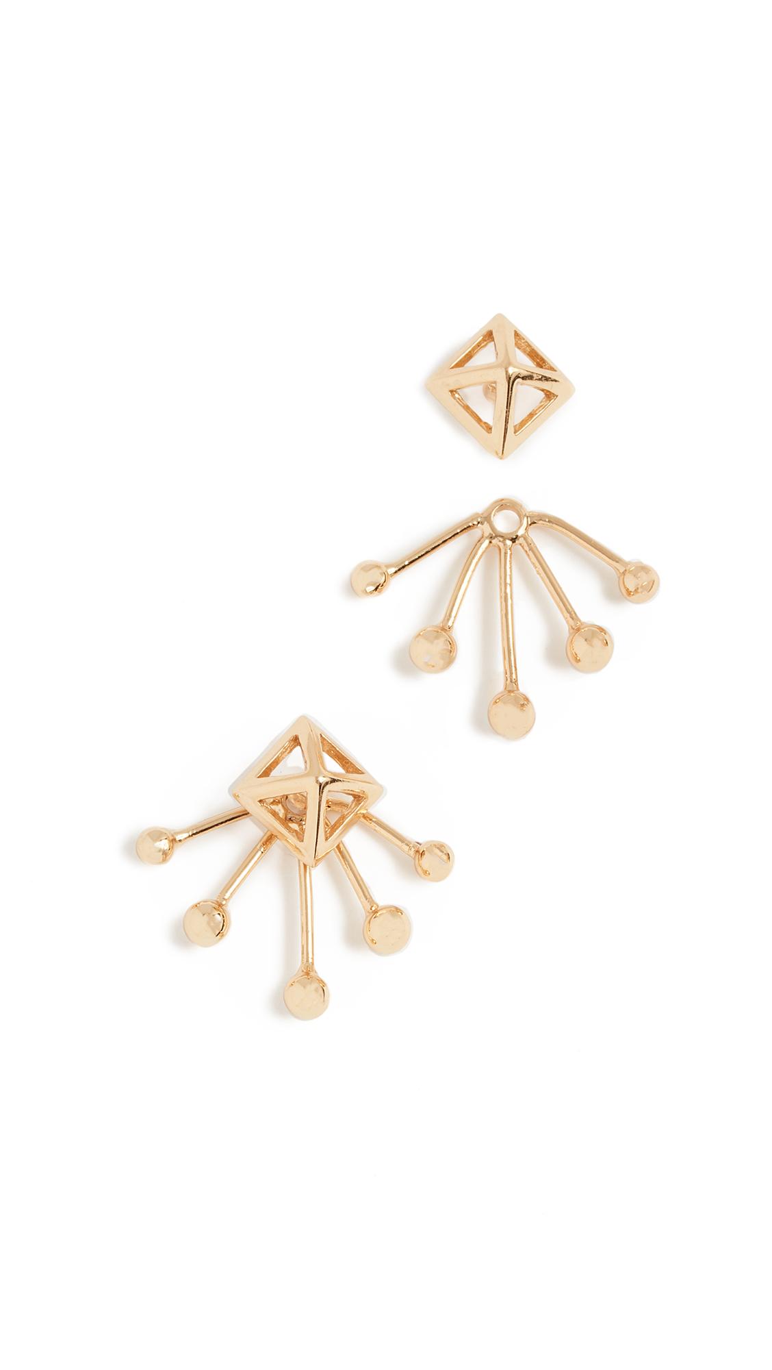 Rebecca Minkoff Pyramid Fan Stud Earrings - Gold