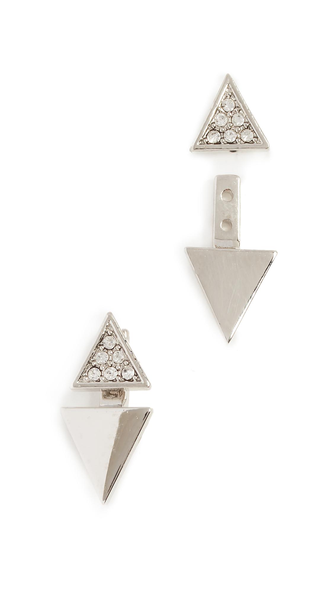 Rebecca Minkoff Double Triangle Earrings - Silver/Clear