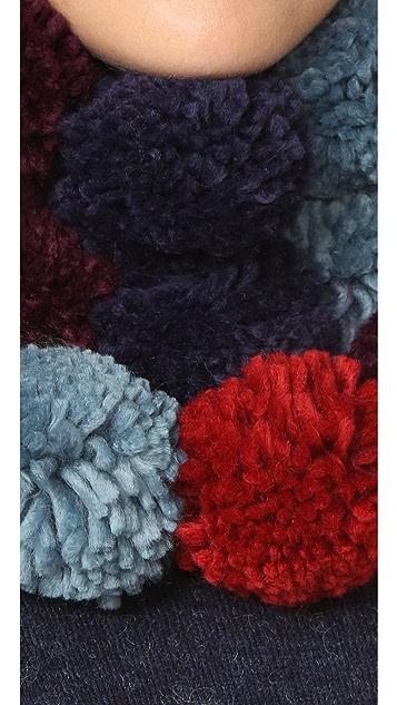 Rebecca Minkoff Multi Color Pom Scarf