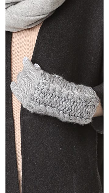 Rebecca Minkoff Hand Knit Cable Texting Muffler Gloves
