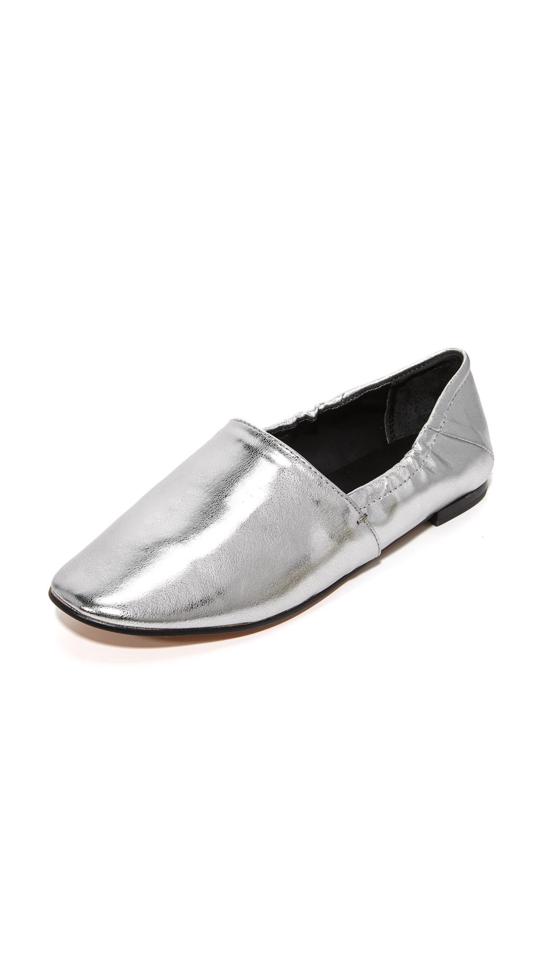 rebecca minkoff female rebecca minkoff romy babouche flats silver metallic