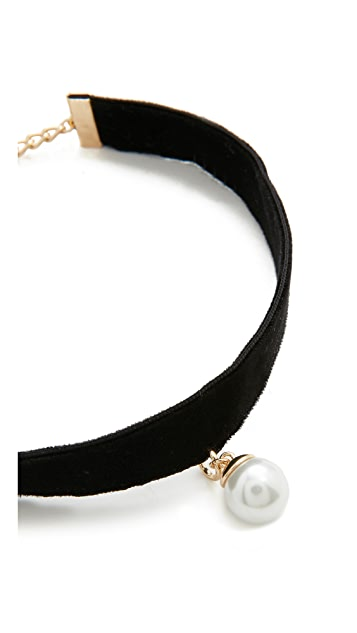 Rebecca Minkoff Velvet Choker with Imitation Pearl Charm