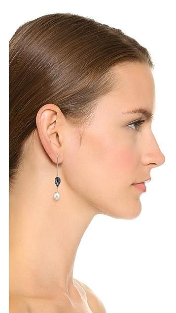 Rebecca Minkoff Stone & Imitation Pearl Threader Earrings
