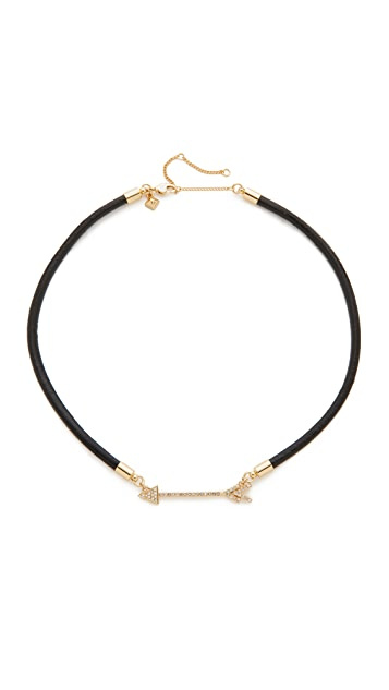 Rebecca Minkoff Pave Arrow On Leather Cord Necklace