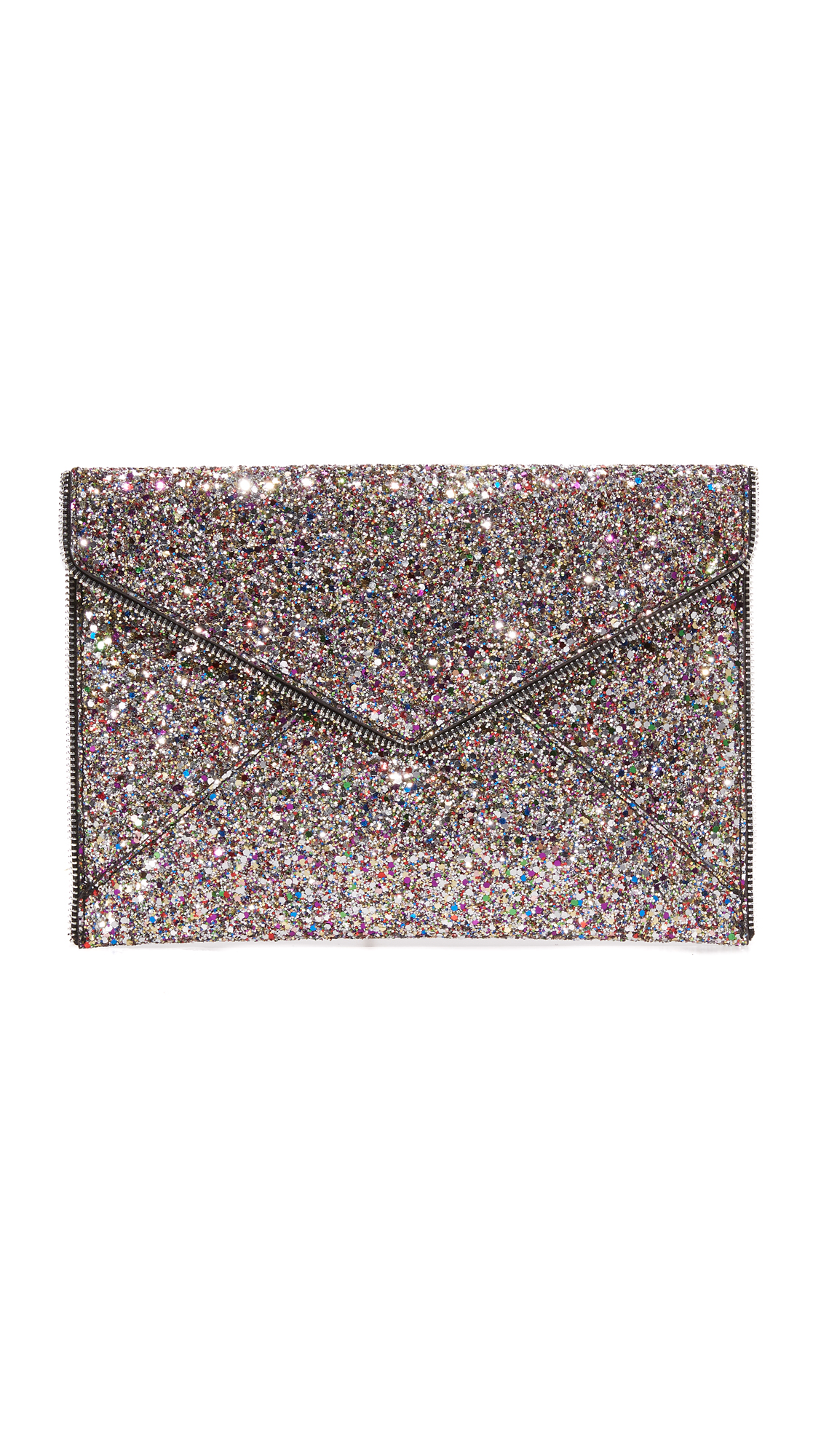 Exposed zipper trim brings industrial edge to this glitter covered Rebecca Minkoff clutch. The magnetic front flap lifts to reveal a lined interior with 6 card slots. Leather: Cowhide. Weight: 10oz / 0.28kg. Imported, China. Measurements Height: 7.5in / 19