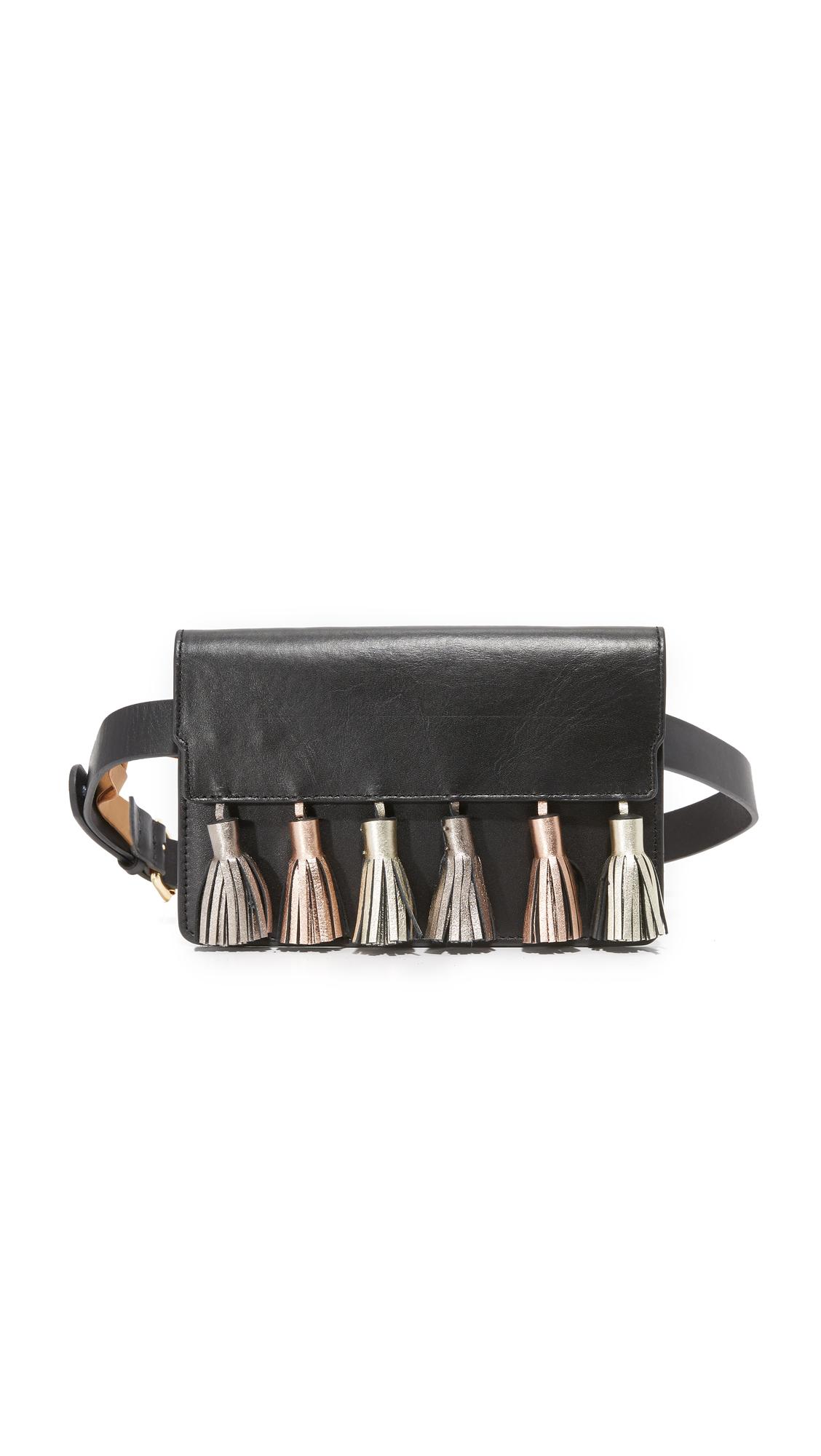 rebecca minkoff female rebecca minkoff metallic tassel belt bag black