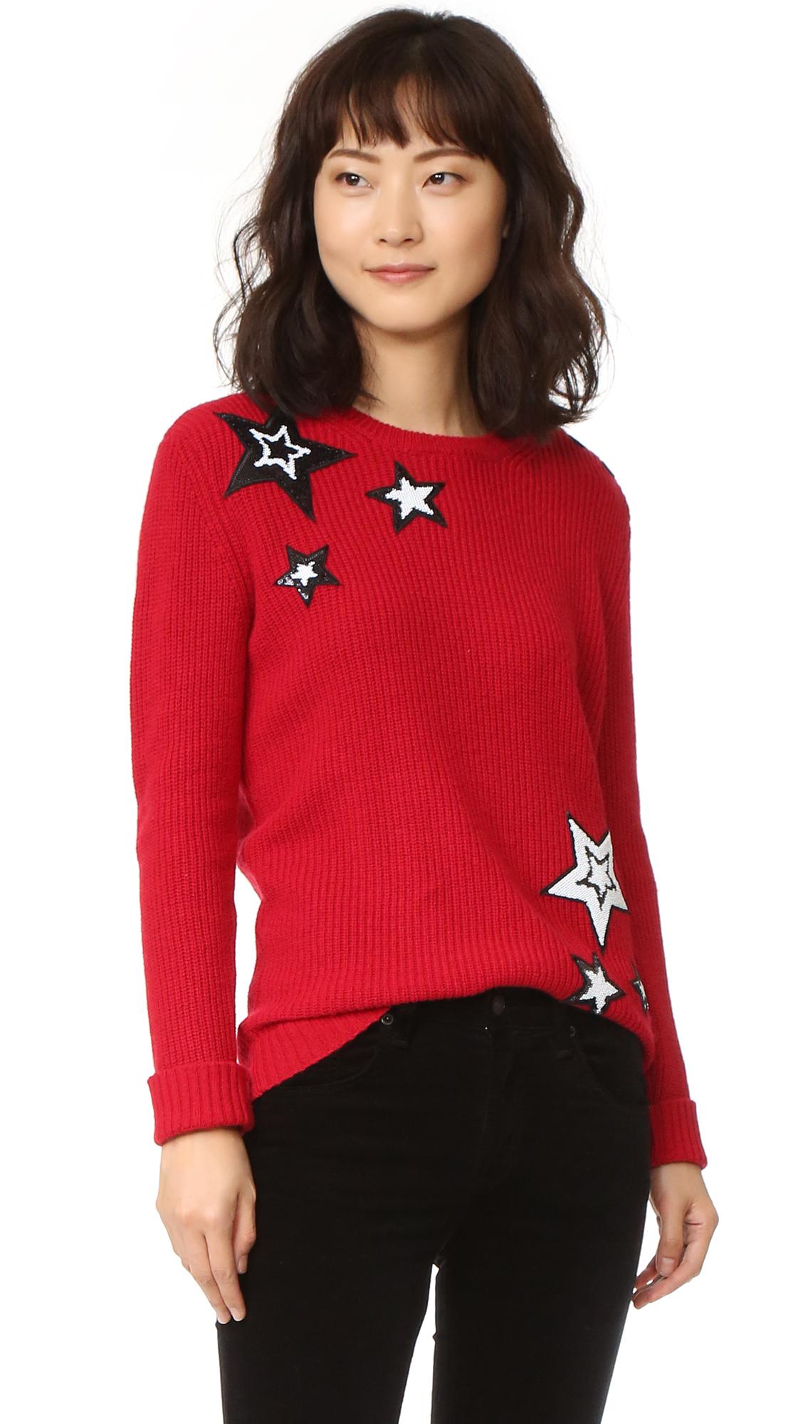 Rebecca Minkoff Prim Sweater With Sequin Stars - Red