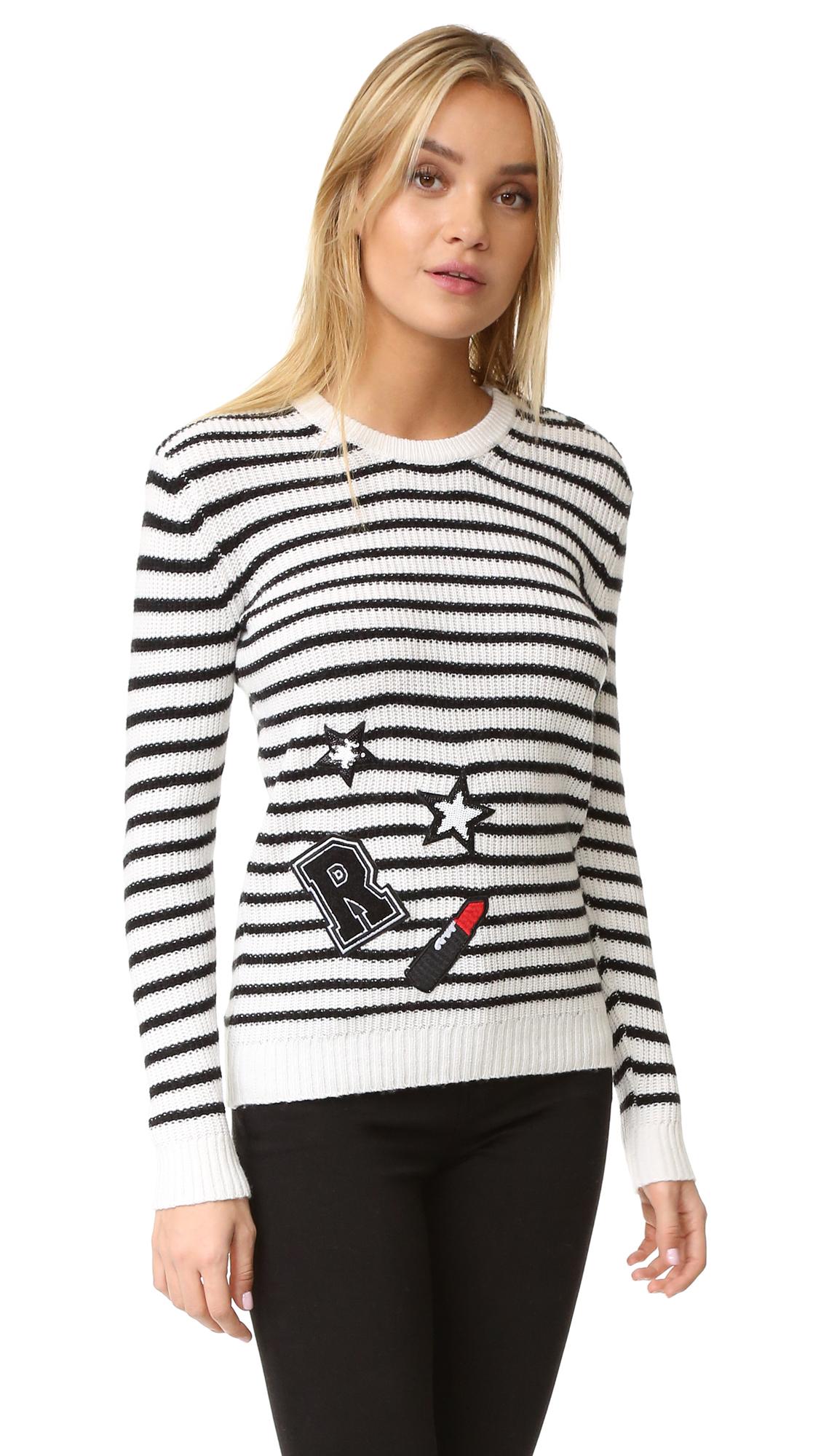 Rebecca Minkoff Prim Stripe Sweater With Patches - Chalk/Black Stripe