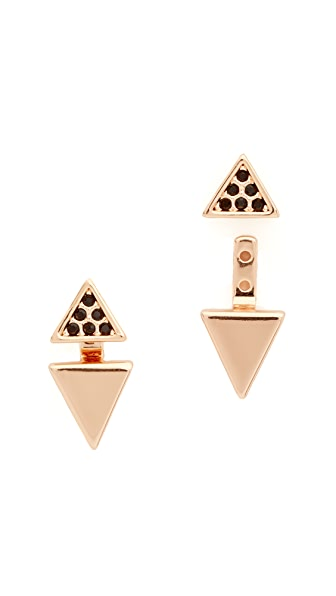 Rebecca Minkoff Double Triangle Front to Back Earrings - Rose Gold/Clear
