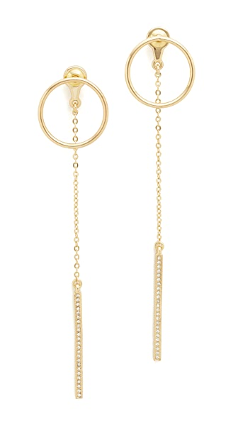Rebecca Minkoff Front Back Open Circle Stud & Dangle Drop Earrings