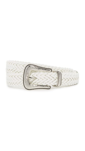 Rebecca Minkoff Woven Strap Belt - Optic White/Polished Nickel