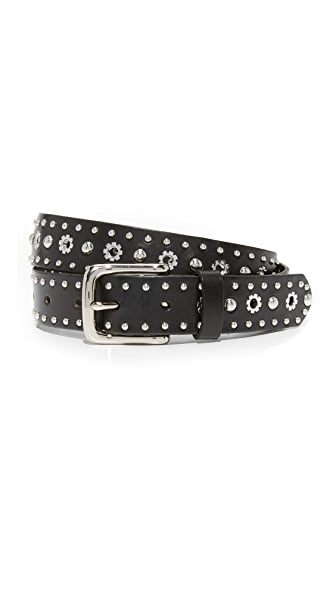 Rebecca Minkoff Studded Eyelet Belt - Black/Polished Nickel