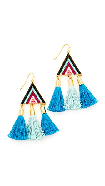 Rebecca Minkoff Catalina Seed Bead Statement Earrings - Gold/Blue Multi