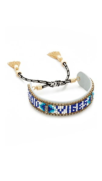 Rebecca Minkoff Good Vibes Only Friendship Bracelet In Blue Multi