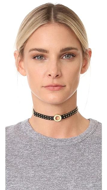 Rebecca Minkoff Leather Studded Choker Necklace