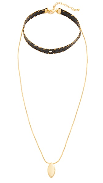 Rebecca Minkoff Leather Layered Choker Necklace - Gold/Black