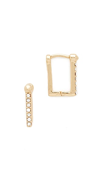 Rebecca Minkoff Simple Pave Huggie Earrings
