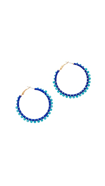Rebecca Minkoff Thread Wrapped Hoop Earrings - Blue Multi