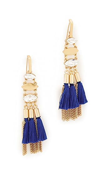 Rebecca Minkoff Tassel and Fringe Chandelier Earrings - Gold/Blue