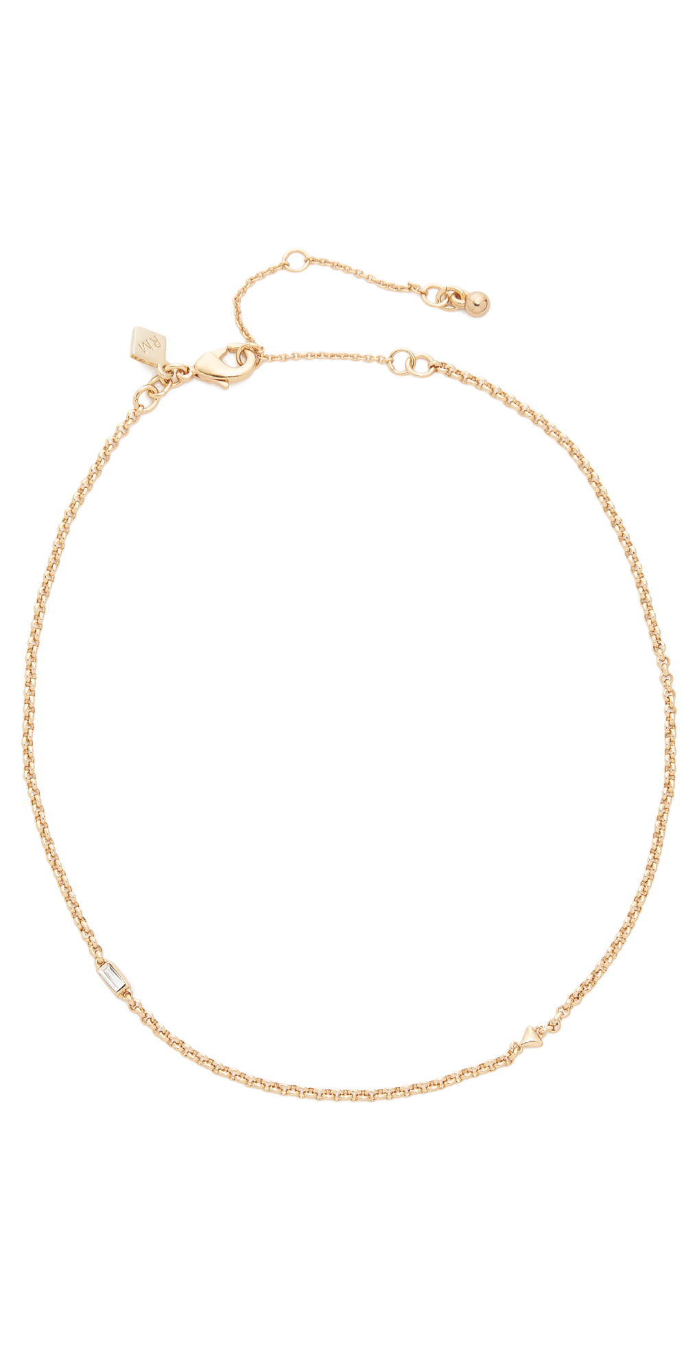 Baguette Stone Chain Choker Necklace Rebecca Minkoff