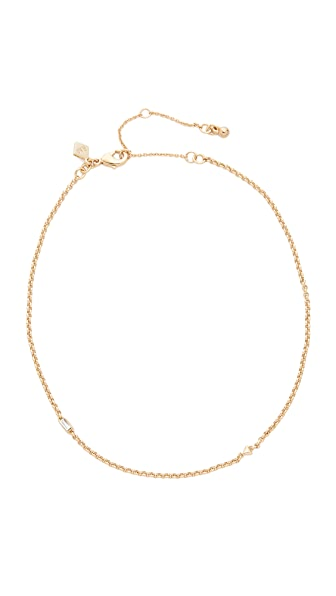 Rebecca Minkoff Baguette Stone Chain Choker Necklace - Gold
