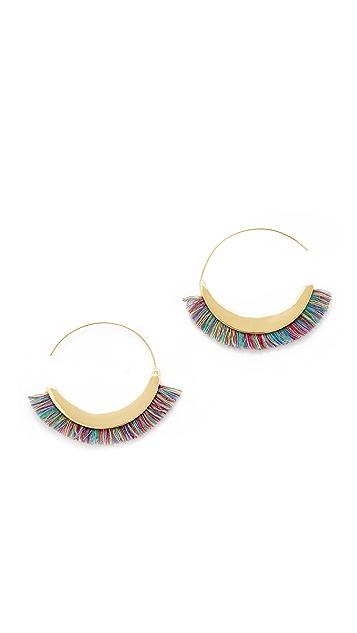 Rebecca Minkoff Thread Fringe Large Hoop Earrings
