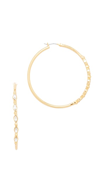 Rebecca Minkoff Tri Stone Large Hoop Earrings - Gold/Crystal
