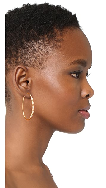 Rebecca Minkoff Tri Stone Large Hoop Earrings