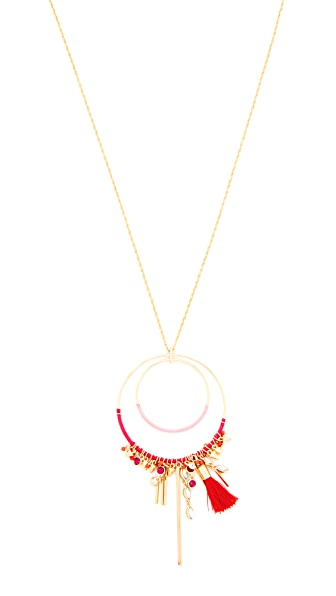 Rebecca Minkoff Gemma Charm Pendant Necklace In Gold/Pink