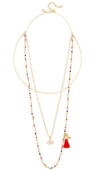 Rebecca Minkoff Layered Seed Bead Collar Necklace - Gold/Warm Multi