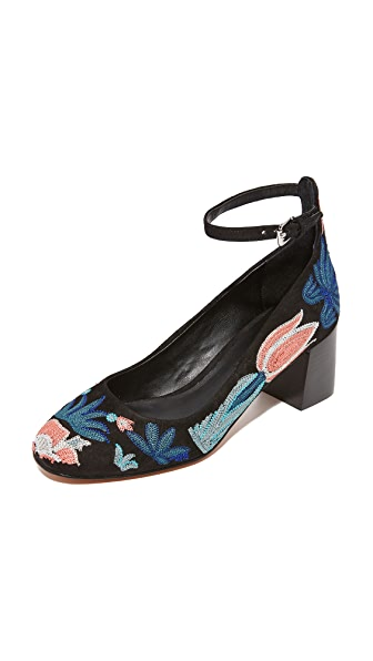 Rebecca Minkoff Bridget Too Embroidered Pumps - Floral Embroidery/Black