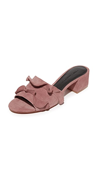 Rebecca Minkoff Isabelle Suede City Mules In Berry Smoothie