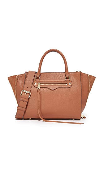 Rebecca Minkoff Side Zip Medium Regan Satchel - Almond